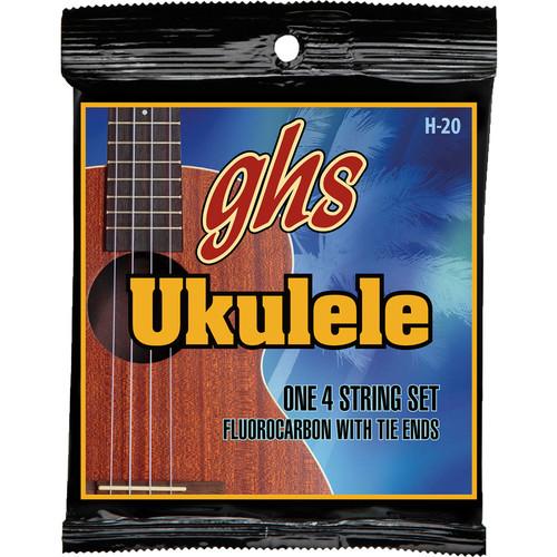 GHS H-20 Soprano/Concert Fluorocarbon Ukulele Strings (4-String Set, Tie End, 26 - 35)