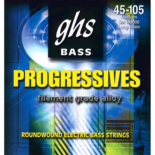 GHS M8000 Medium Bass Progressives Roundwound Electric Bass Strings (4-String Set, Long Scale, 45 - 105)