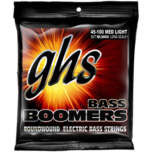 GHS ML3045X Medium Light Extra Long Scale Bass Boomers Roundwound Electric Bass Strings (4-String Set, 45 - 100)