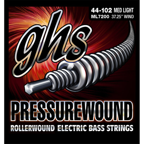 GHS ML7200 Medium Light Pressurewound Rollerwound Electric Bass Strings (4-String Set, Universal Long Scale, 44 - 102)