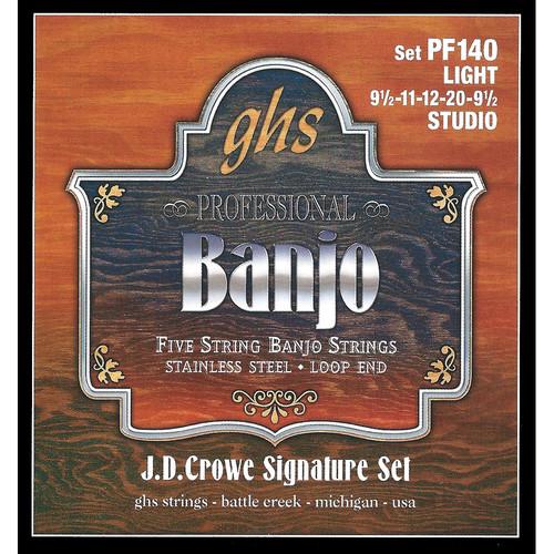 GHS PF140 J.D. Crowe Signature Studio Stainless Steel Banjo Strings (5-String Set, Loop End, 9.5 - 20)
