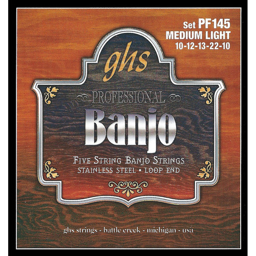 GHS PF145 Medium Light Stainless Steel Banjo Strings (5-String Set, Loop End, 10 - 22)