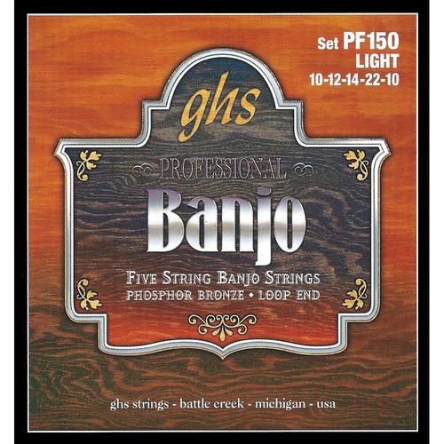 GHS PF150 Light Phosphor Bronze Banjo Strings (5-String Set, Loop End, 10 - 22)