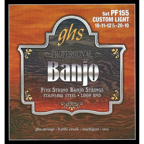 GHS PF155 Custom Light Stainless Steel Banjo Strings (5-String Set, Loop End, 10 - 20)