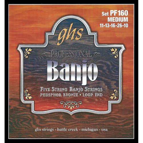 GHS PF160 Medium Phosphor Bronze Banjo Strings (5-String Set, Loop End, 11 - 26)
