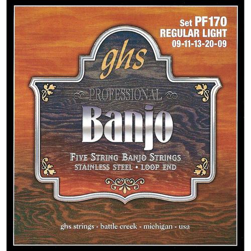 GHS PF170 Regular Light Stainless Steel Banjo Strings (5-String Set, Loop End, 9 - 20)