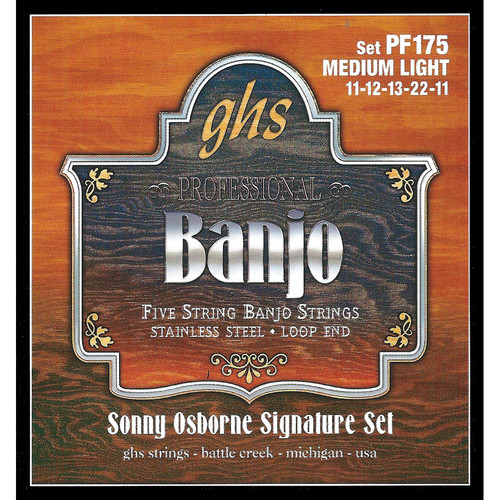 GHS PF175 Sonny Osborne Signature Stainless Steel Banjo Strings (5-String Set, Loop End, 11 - 22)