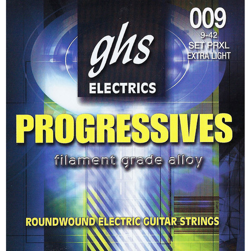GHS PRXL Progressives Roundwound Extra Light Electric Guitar Strings (6-String Set, 9 - 42)