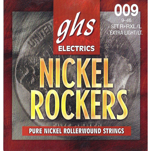 GHS R+RXL/L Nickel Rockers Extra Light/Light Rollerwound Electric Guitar Strings (6-String Set, 9 - 46)