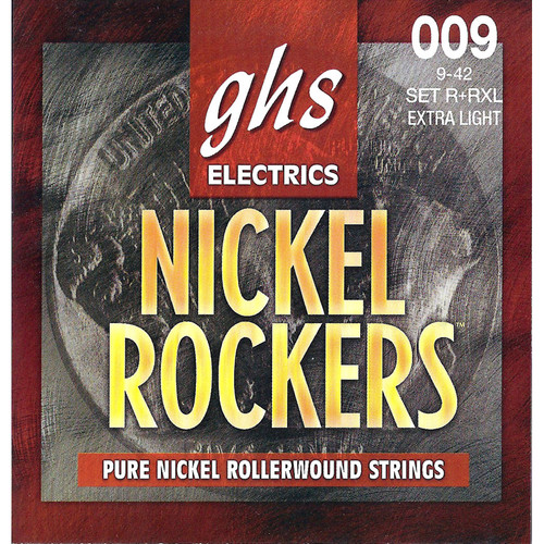 GHS R+RXL Nickel Rockers Extra Light Rollerwound Electric Guitar Strings (6-String Set, 9 - 42)
