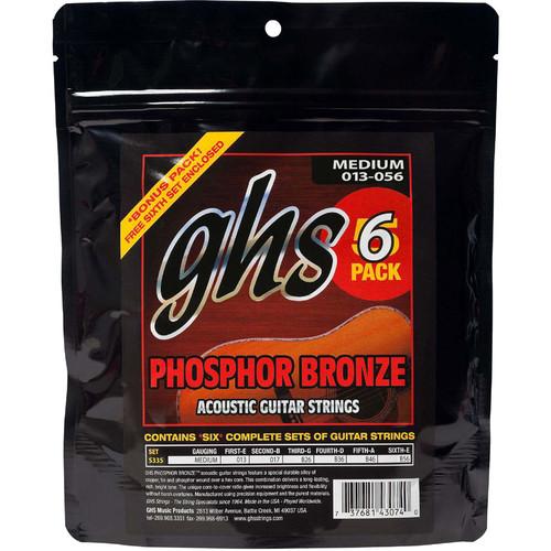 GHS S335-5 Standard Medium Phosphor Bronze Multi-Pack Acoustic Guitar Strings (6-String Set, 13 - 56, 6-Pack)