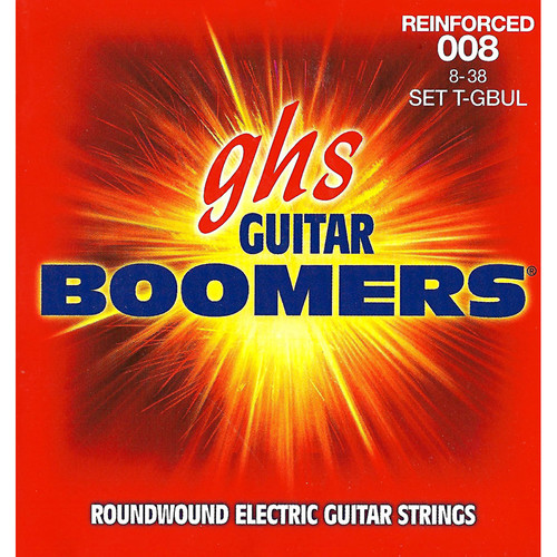 GHS T-GBUL Reinforced Boomers Ultra Light Electric Guitar Strings (6-String Set, 8 - 38)