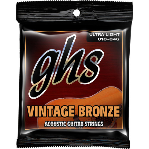 GHS VN-UL Ultra Light Vintage Bronze Acoustic Guitar Strings (6-String Set, 10 - 46)