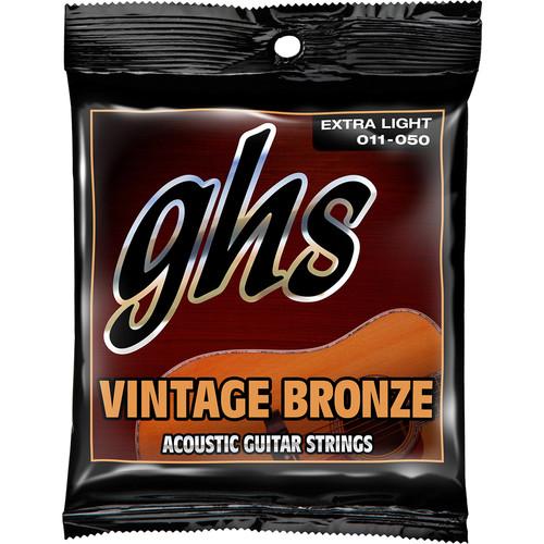 GHS VN-XL Extra Light Vintage Bronze Acoustic Guitar Strings (6-String Set, 11 - 50)