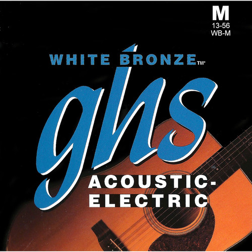 GHS WB-M Medium White Bronze Acoustic/Electric Guitar Strings (6-String Set, 13 - 56)