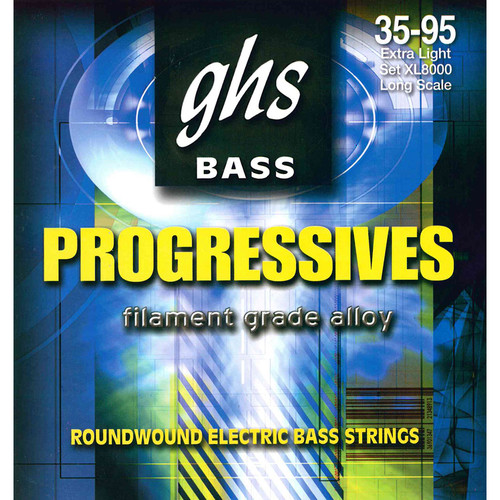 GHS XL8000 Extra Light Bass Progressives Roundwound Electric Bass Strings (4-String Set, Long Scale, 35 - 95)
