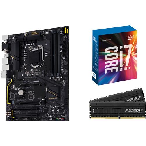 Gigabyte GA-Z270-HD3P LGA 1151 ATX Motherboard, Intel Core i7-7700K Quad-Core CPU, and Crucial 16GB Ballistix Elite RAM Kit