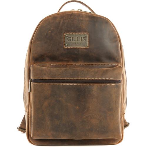 GILLIS LONDON Trafalgar Camera Backpack (Brown Vintage Leather)