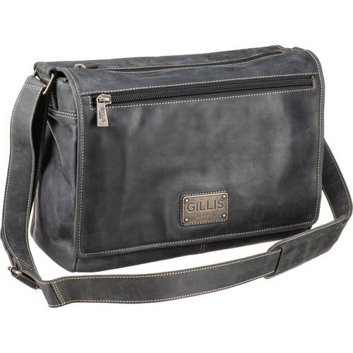 GILLIS LONDON Trafalgar Messenger Leather Camera Bag (Black)