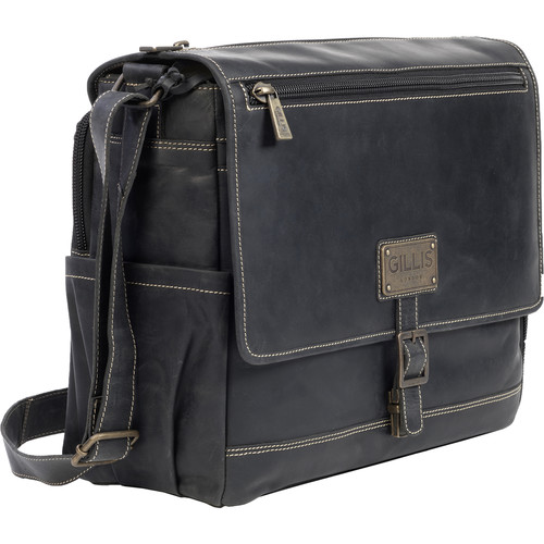 GILLIS LONDON Trafalgar Leather Messenger Bag (Black)