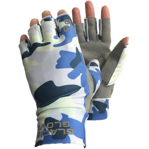 Glacier Glove Ascension Bay Fingerless Sun Gloves (Blue Camo, Extra-Large)