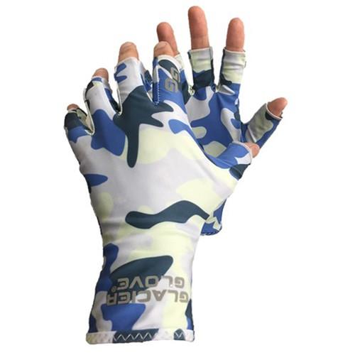 Glacier Glove Abaco Bay Sun Glove (Blue Camo, Extra-Small/Small)