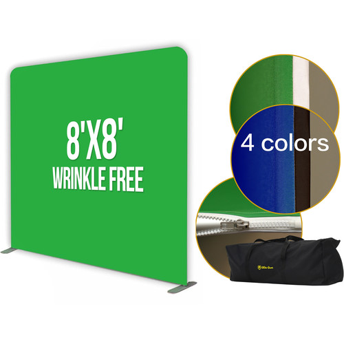 Glide Gear Video Photography Tension Anti-Wrinkle 8 x 8' Backdrop Stand with Green/White and Black/Blue Backdrops