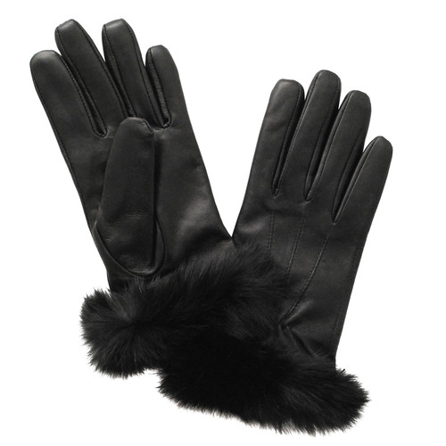 Glove.ly Women's Leather Rabbit Cuff Touchscreen Gloves (Black, Large)