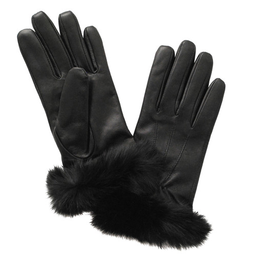 Glove.ly Women's Leather Rabbit Cuff Touchscreen Gloves (Black, Small)