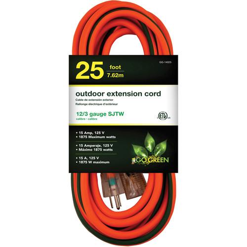 Go Green 15A 125V Outdoor Extension Cord (25', Orange)