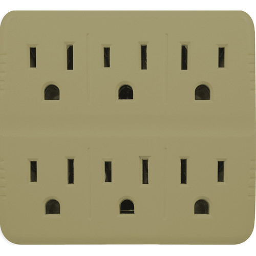Go Green 6-Outlet Wall Tap Adapter (Tan)