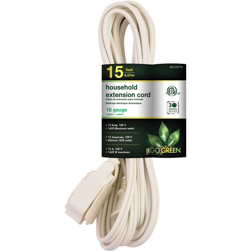 Go Green Household Extension Cord (15', White)