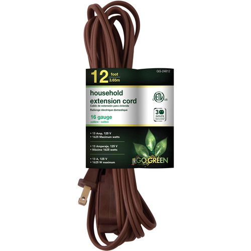 Go Green Household Extension Cord (12', Brown)