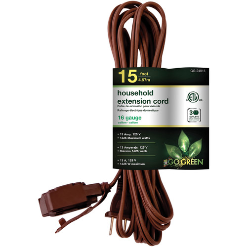 Go Green Household Extension Cord (15', Brown)