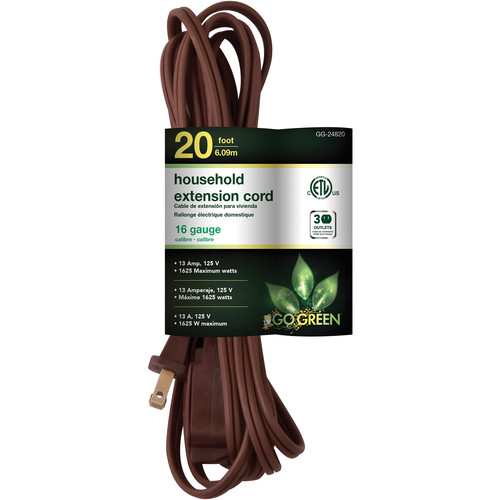 Go Green Household Extension Cord (20', Brown)