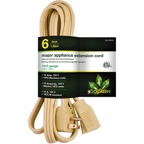 Go Green Single-Outlet Major Appliance Extension Cord (6', Beige)