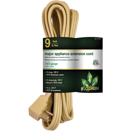 Go Green Single-Outlet Major Appliance Extension Cord (9', Beige)
