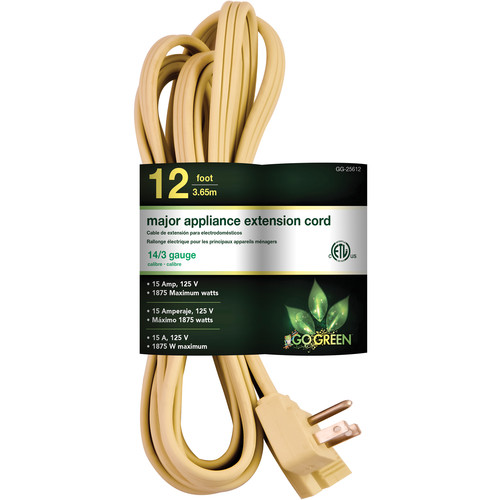 Go Green Single-Outlet Major Appliance Extension Cord (12', Beige)