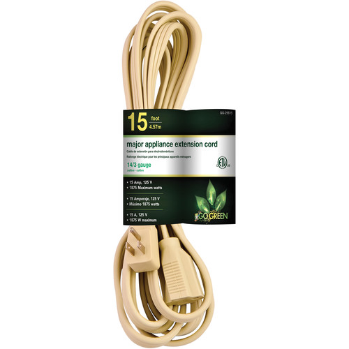 Go Green Single-Outlet Major Appliance Extension Cord (15', Beige)
