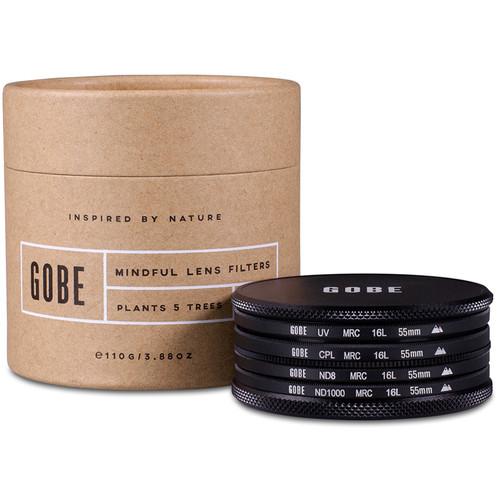 Gobe 55mm Essentials 2Peak UV, Circular Polarizer, ND8, and ND1000 Filter Kit