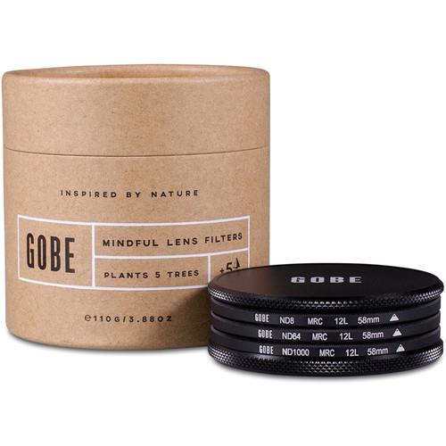 Gobe 58mm ND Stopper 1Peak Solid Neutral Density Filter Kit (3, 6, and 10 Stops)