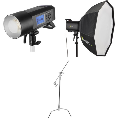 Godox AD400Pro Witstro Battery-Powered Monolight Kit with Softbox and C-Stand