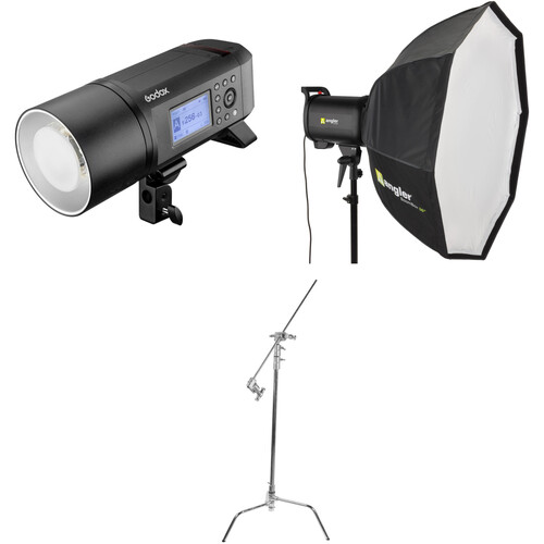 Godox AD600Pro Witstro Battery-Powered Monolight Kit with Softbox and C-Stand