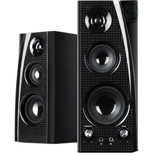 GOgroove BlueSYNC SLK Wireless Bluetooth Powered Bookshelf Stereo Speakers