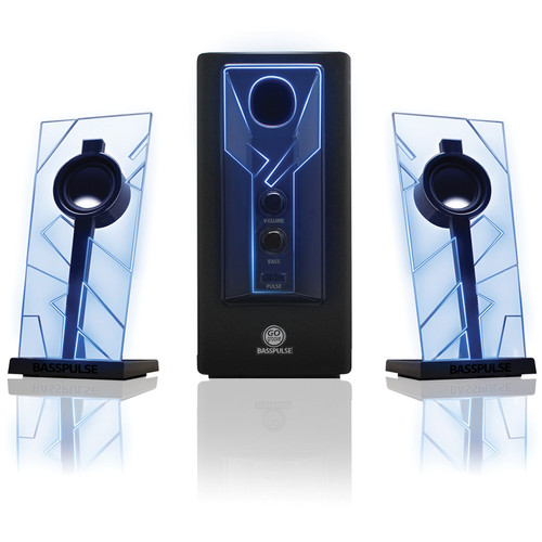 GOgroove BassPULSE 2.1 Stereo Speaker Sound System with Powered Subwoofer (Blue/Black)