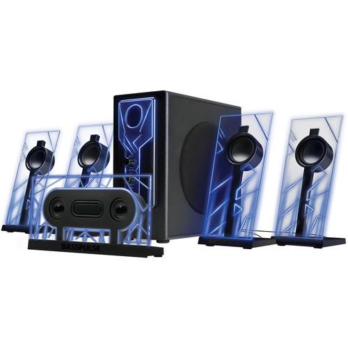 GOgroove BassPULSE 5.1 Surround-Sound Speaker System (Blue/Black)