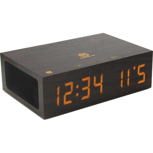 GOgroove BlueSYNC TYM Bluetooth Speaker with Integrated Alarm Clock (Dark Wood)