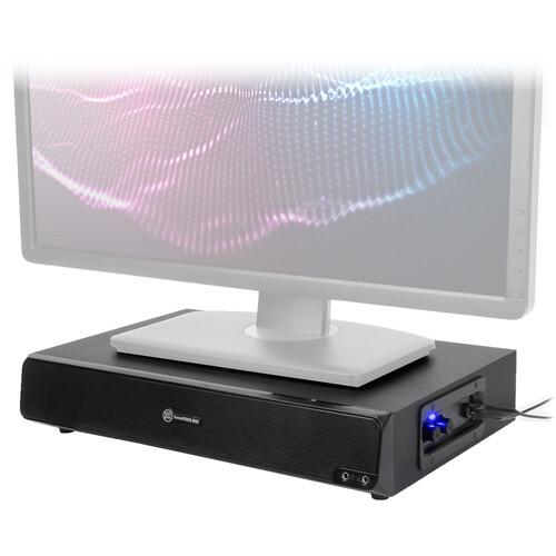 "GOgroove Sound Base 3"" Desk Monitor Riser with Powered Subwoofer (Black)"