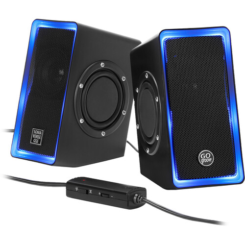 """GOgroove Stereo Computer Speakers with LED Accent Lights with 2""""/3W Drivers and Dual 2.5"""" Bass Radiators"""