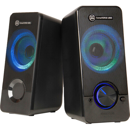 GOgroove USB Powered Illuminated Stereo Speakers with 3.5mm for Laptops or Desktops (Black)